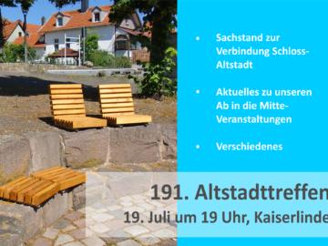 Einladung zum Altstadttreffen am 19.07.2021 um 19 Uhr auf dem Kaiserlindenplatz
